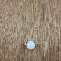 14k gold filled faceted moonstone bead necklace / bridesmaid necklace / minimalist necklace / dainty necklace / June birthstone necklace