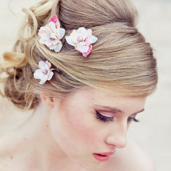 Wedding hair accessory Set of three flower bobby by BeSomethingNew