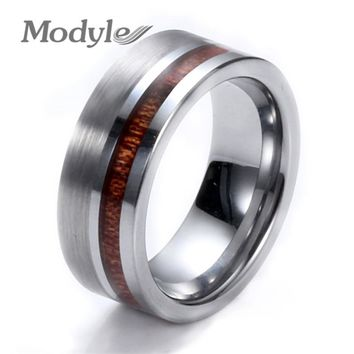 Modyle Simple High Quality 8mm Wood Round Silver Color Tungsten Carbide Band Ring Heavy Steel Punk Ring For Men Party Rings