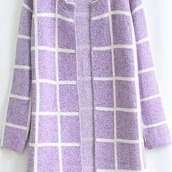 Purple Plaid Print Long Sleeve Cardigan