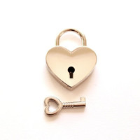 Small Heart Lock and Key / heart padlock & heart key wedding favors key favors