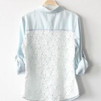 Vintage Denim Shirt With Lace Back