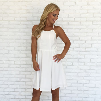 Walk With Grace Skater Dress in White