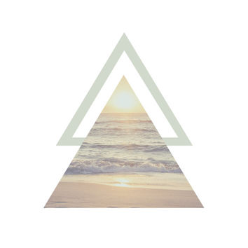 Triangle Poster, Beach, Sunset, Geometric, Photo Print, Wall Art, Pastel, Digital Printable File, Instant Download