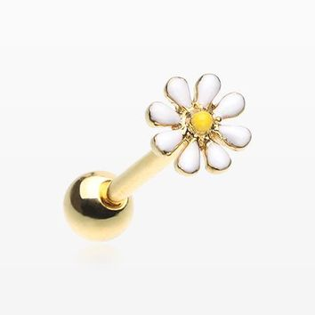 Golden Adorable Daisy Flower Barbell Tongue Ring