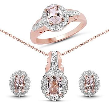 14K Rose Gold Peach Morganite Engagement Ring, Halo Earrings, Halo Pendant Necklace Gift Set