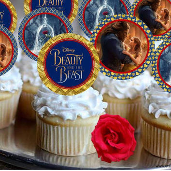 Beauty and the Beast Cupcake Toppers, 60% savings  Party Decorations, Belle, instant download, party signs, cupcake toppers, signs available