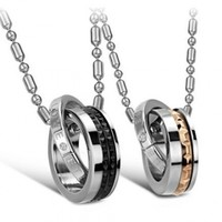 His or Hers Matching Set Titanium Couple Pendant Necklace Rings Korean Love Style in a Gift Box