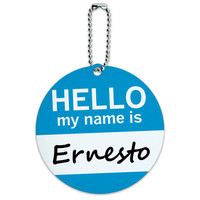 Ernesto Hello My Name Is Round ID Card Luggage Tag
