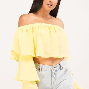 Off Shoulder Long Tiered Sleeve Crop Top in Off White, Lemon, Black