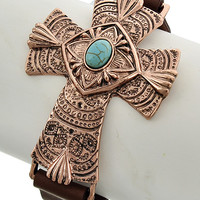 Copper Tone and Turquoise Cross Bracelet