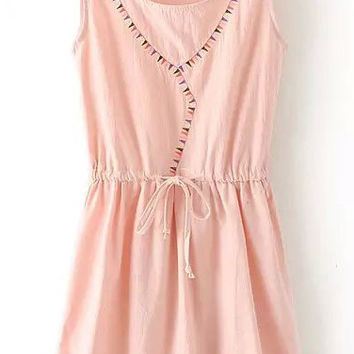 Pink Sleeveless Triangle Embroidered Drawstring Dress