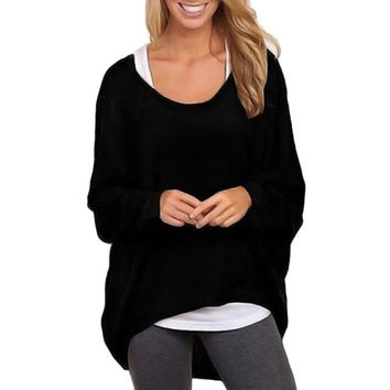 Women Batwing Sleeve Loose Knitted Sweater Pullover Casual Long Sleeve Tops Knitwear Pull Femme Jumper INY66