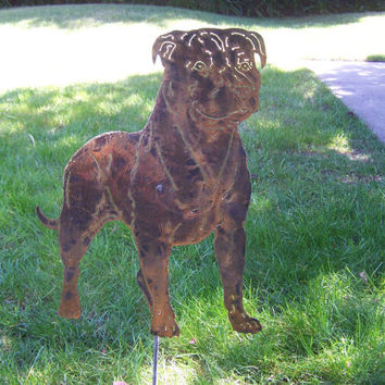 American Staffordshire Terrier, Pit Bull,natural ear Metal yard art garden sculpture steel dog / pet memorial