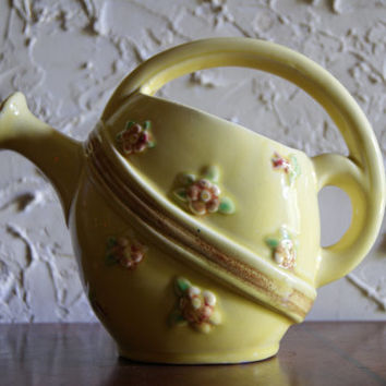 Vintage 1950s Ceramic Handled Watering Can Or Planter With Floral Motif Marked Germany