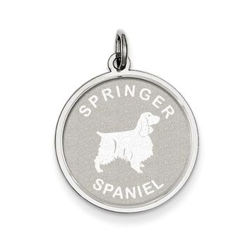 Sterling Silver Laser Etched Springer Spaniel Dog Pendant, 19mm