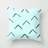 Triangles on mint Throw Pillow by Cecilia Andersson