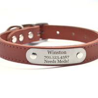 Leather Dog Collar With Personalized Nameplate - Terracotta