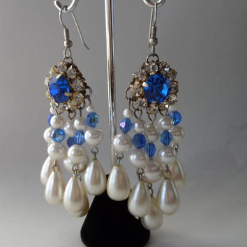 Blue & Clear Rhinestones and Pearl Chandelier Earrings, Pierced 1980's Runway Statement Earrings