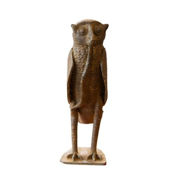 Large Owl with Snake in Mouth Vintage African Bronze Sculpture