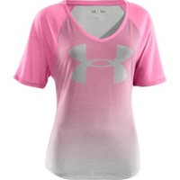 Under Armour Women's Dip-Dye Big Logo Raglan V-Neck T-Shirt - Dick's Sporting Goods