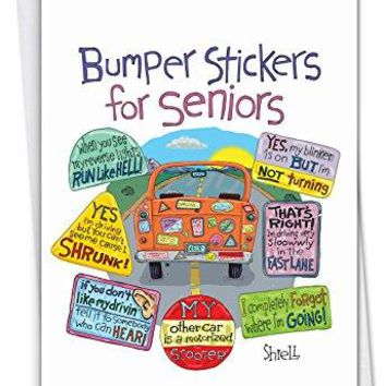 Senior Bumper Stickers: Funny Birthday Card Featuring Hilarious Stickers of Elderly Drivers Actions - Free Shipping
