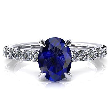 Alessi Oval Blue Sapphire 4 Claw Prong 3/4 Micro Pave Engagement Ring