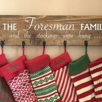 Stocking hanger, reclaimed wood, no mantle, personalized,  rustic Christmas, the stockings , family stocking holder, Christmas stockings