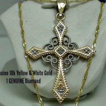 Genuine 10k Yellow & White Gold with 1 GENUINE Diamond in The Center Filigree Design Cross Necklace ge182