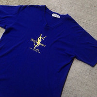 Mens Authentic Ysl Big Logo T-Shirt M purple blue yellow