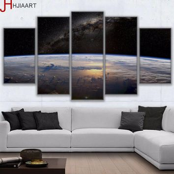 HD Printed Canvas Framed Living Room Wall Art Posters 5 Pieces Universe Space View Planet Horizon Painting Home Decor
