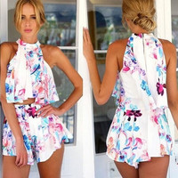 Feelingirl Women's Fashion Two Piece Halter Tops and Pants Summer Print Floral Casual Ladies Rompers Fashion Women Jumpsuits = 1697096388