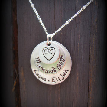 Hand Stamped Sterling Silver Mamaw Necklace-Nana Necklace with Kids Names-Mamaw's Boys Keepsake Jewelry-Grandmother-Granny