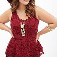 FOREVER 21 PLUS Scalloped Lace Top Burgundy