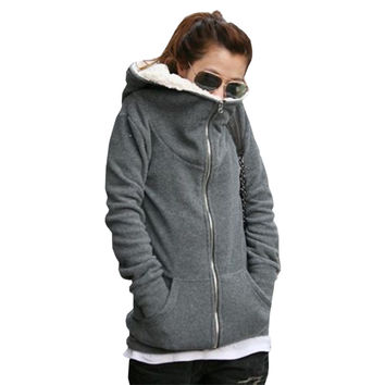 Women Autumn Winter Warm Zip Up Thick Fleece Outerwear Hooded Sweatshirt Hoodies Coat Jacket Casual Sports Plus 7 Sizes S-4XL