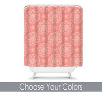 Coral Shower Curtain Monogram Medallion CUSTOM You Choose Colors Mandala Flower Floral Bathroom Bath Polyester Made in the USA