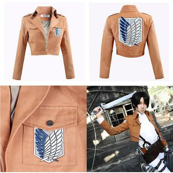 DCCKHY9 Attack on Titan Jacket Halloween Costume for women men Shingeki no Kyojin Coat Cosplay cartoon Jackets crop top Plus Size