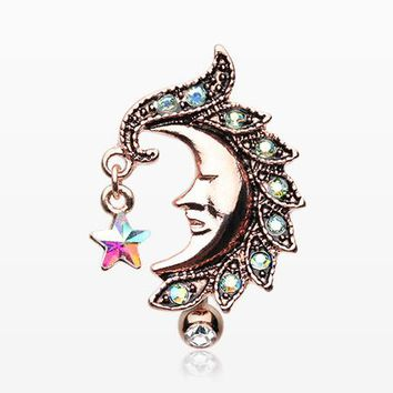 4a7ed72a0 Rose Gold Sparkle Star Crescent Moon Reverse Belly Button Ring