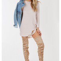 Baddie Distressed Tunic Dress