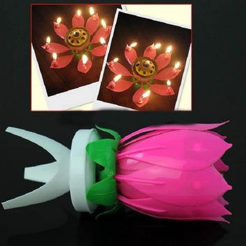 Lotus Flower Candle Birthday Party Cake Music Sparkle Cake Topper Rotating Candle = 1946089540