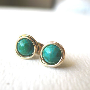 Green Jasper Gemstone Post Earrings 14K Gold Filled Wrapped- Stud Earrings - Birthday Friends Bridesmaids Gifts St Patrick's Day