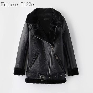 Future Time 2017 Winter Jacket Bomber Women PU Leather Jacket Autumn Black Thick Fur Zipper Motorcycle Jackets Winter Coat WT186