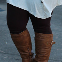 Brown Fleece Lined Leggings {Curvy}