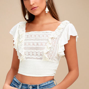 Bridget Ivory Lace Crop Top