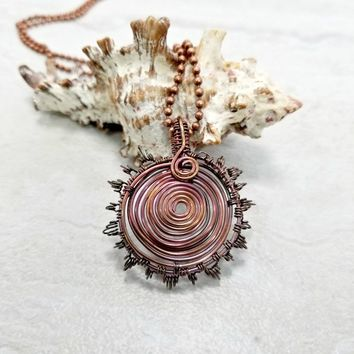 Copper Wire Jewelry, Wire Wrapped Sunburst Necklace, Womens Gift, Mens Necklace