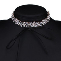 Adjustable Rhinestone Bowknot Choker