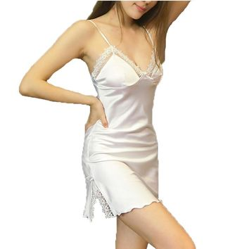 Women Sleepshirts sexy women's summer style nightgowns MINI nightwear silk sleepwear with lace flower suspenders home wear hot