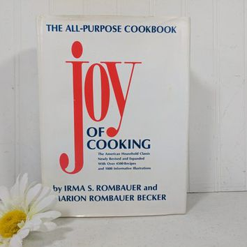 Joy of Cooking Book by Irma S Rombauer & Marion Rombauer Becker Classic Basic All-Purpose Cookbook White and Gold Book