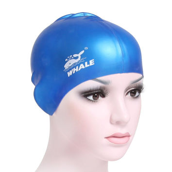 Whale brand women men Adult  silicone surf hat Protect Ears Long Hair Sports Swim Pool Shower cap swimming cap