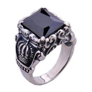 Natural Black Gemstone Onyx .925 Silver Plated Ring Crown Royal Men's Jewelry Fashion-Size 10